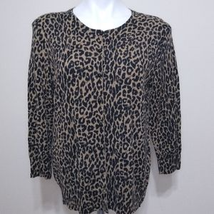 Talbots Merino Wool Cheetah Cardigan Black Tan